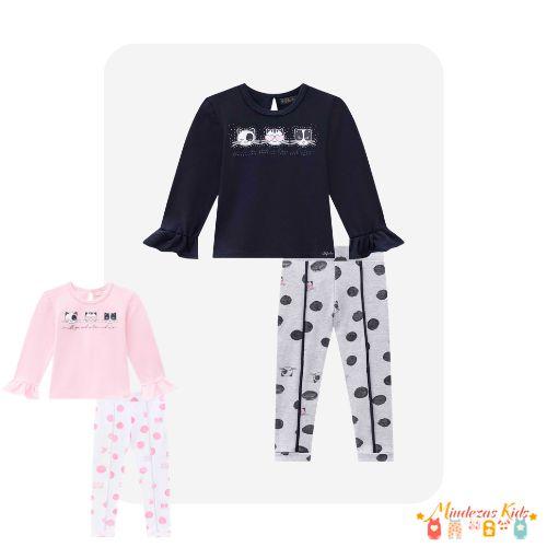 Conjunto de blusa em cotton e legging em suedine Infanti