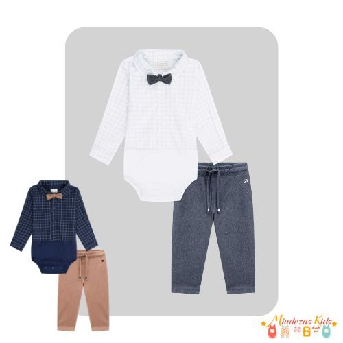 Conjunto de body camisa e calça e gravata Luc.boo Baby