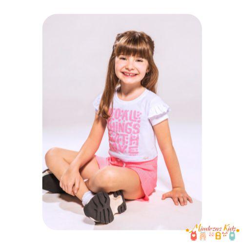 Conjunto de blusa boxy em meia malha e shorts em malha canelada Infanti