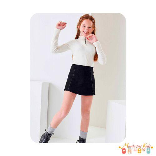 Conjunto de blusa e shorts saia em camurça Lilimonn