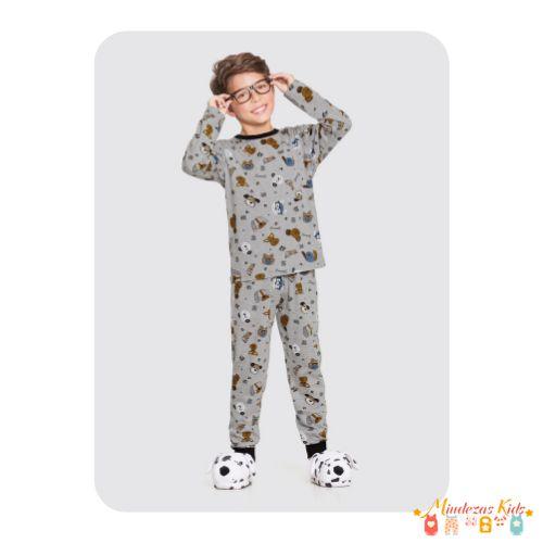 Pijama em meia malha penteada com elástico no cós Alakazoo