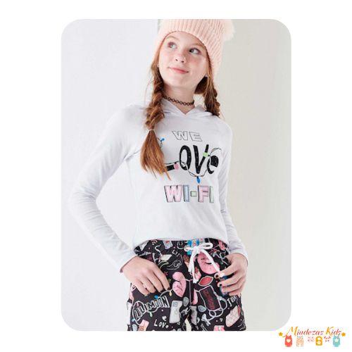 Conjunto de blusa em cotton e shorts em nylon Lilimoon