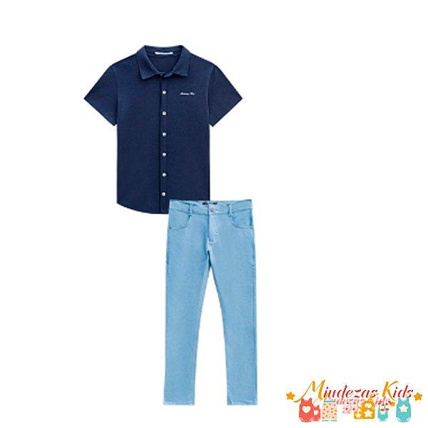 Conjunto Camisa em malha suedine e calça skinny em malha denim com elastano Johnny Fox