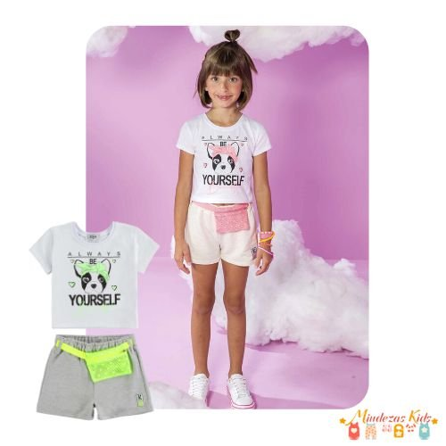 Conjunto de blusa boxy e shorts com pochete Le Petit Kukiê