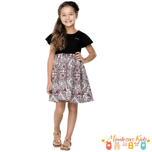 Vestido Infantil Preto Quimby - BLK