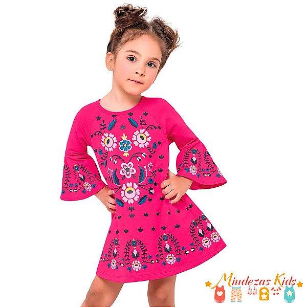 Vestido Infantil Moletinho Nanai Floral - BLK1