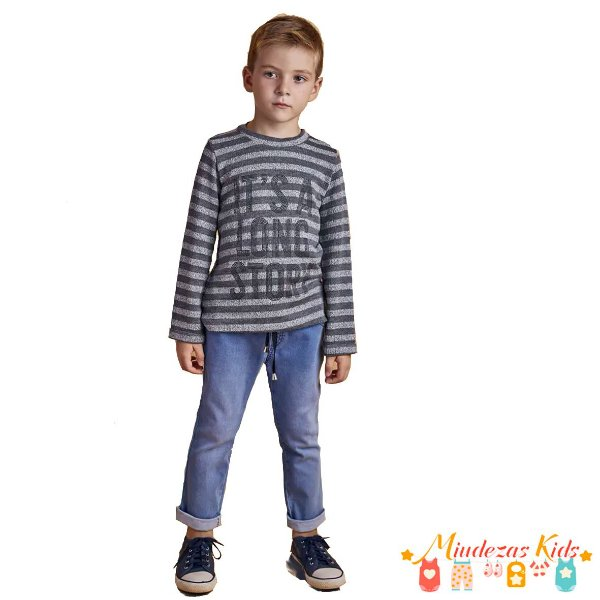 Conjunto blusa tricô e calça jogger jeans Opera Kids - BLK