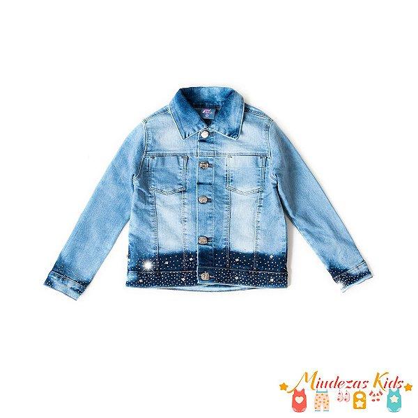 Jaqueta Jeans com elastano detalhe em strass Parizi
