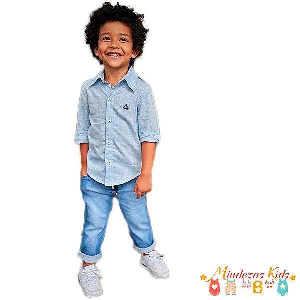 Conjunto Camisa Azul Claro e Calça Jeans Opera Kids - BLK1