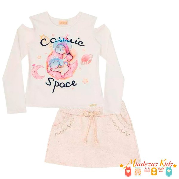 Conjunto Blusa e Short Saia Le Petit Kukie Cosmic Space