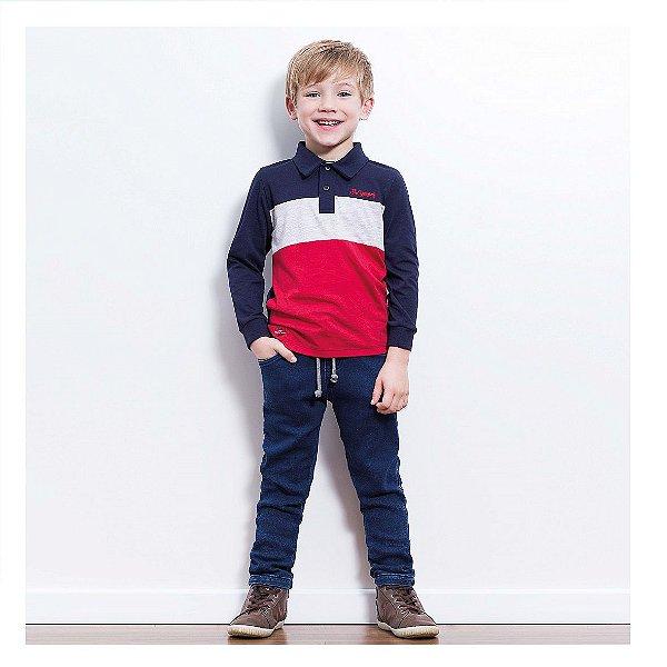 Conjunto de camisa polo e calça jeans Luc.boo