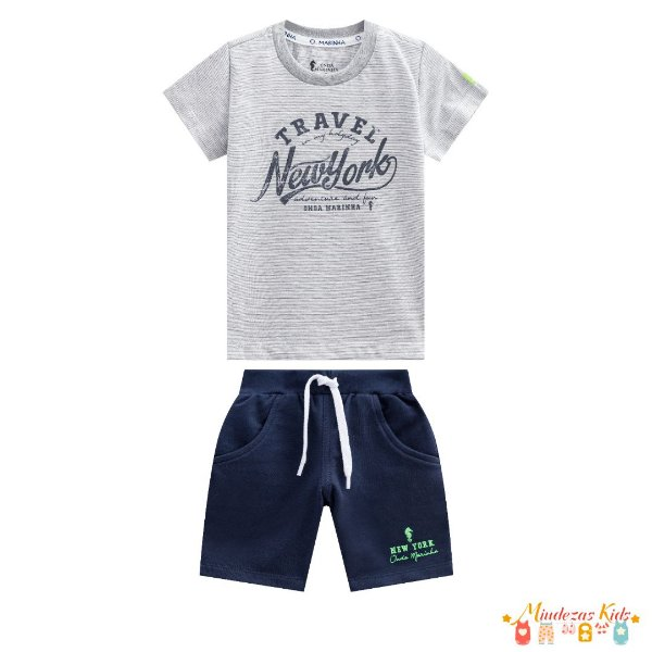 Conjunto camiseta e bermuda Onda Marinha - v