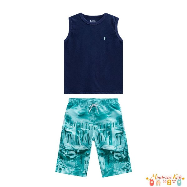 Conjunto camiseta regata e bermuda Onda Marinha
