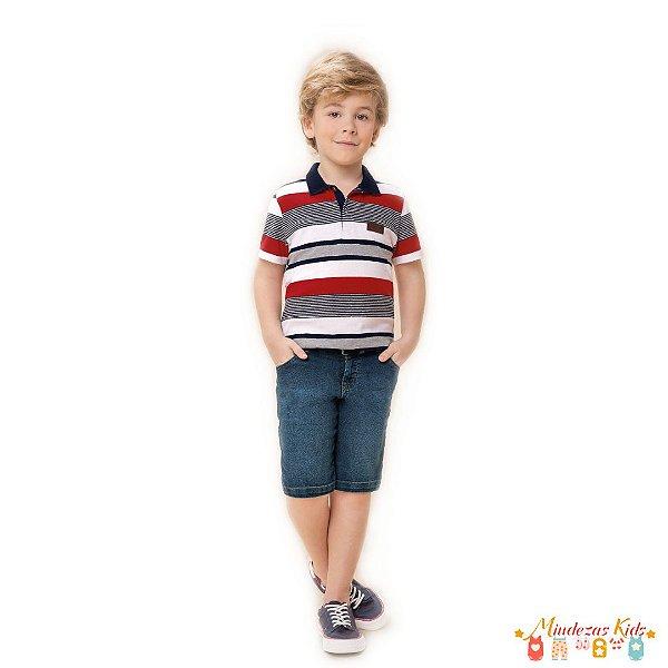 Conjunto de camisa polo e bermuda jeans Carinhoso - BLK