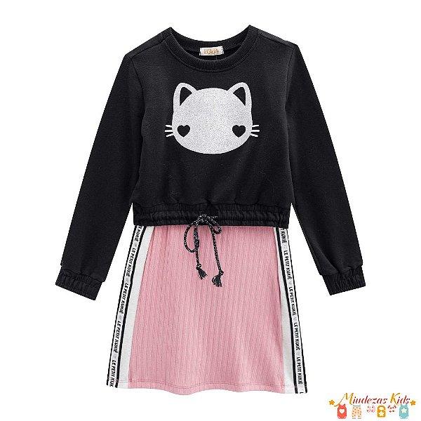 Conjunto Blusão e vestido Le Petit Kukiê Gatinha