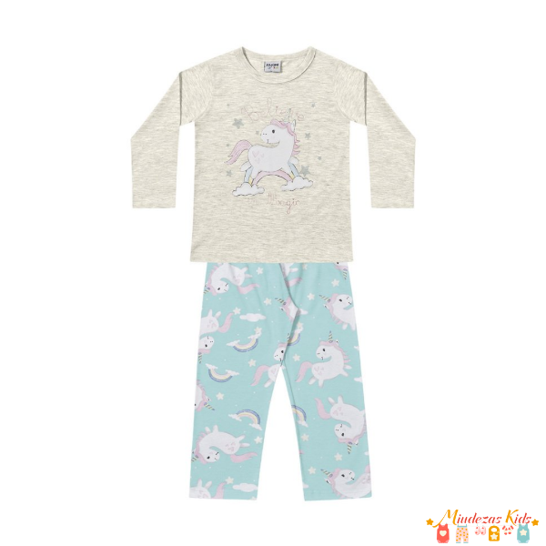 Pijama Infantil em Malha Unicórnio Fakini - BLK