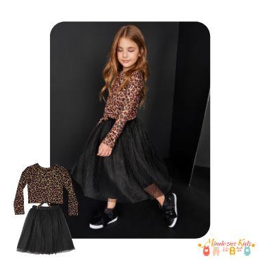 Blusa cropped em malha térmica e saia em tule plissado Infanti High Collection