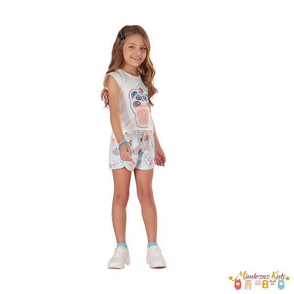 Conjunto de blusa em cotton e shorts em fly tech Le Petit Kukiê