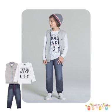 Conjunto de colete, camiseta e calça Denim Luc.Boo