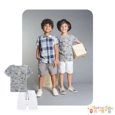 Conjunto Camiseta suedine e bermuda sarja com elastano Luc.Boo - v