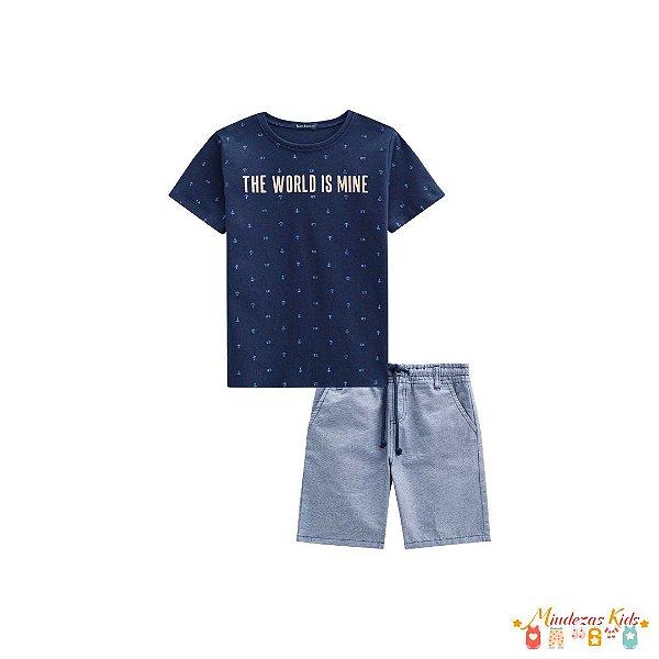 Conjunto Camiseta de Suedine e Bermuda Tecido Fio Tinto Luc.Boo