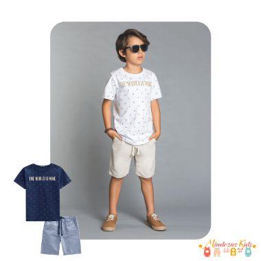 Conjunto Camiseta de Suedine e Bermuda Tecido Fio Tinto Luc.Boo - v