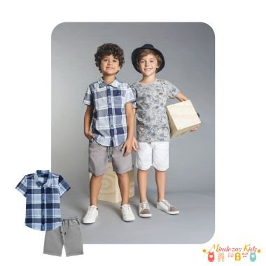 Camisa tricoline xadrez fio tinto e bermuda de sarja com elastano Luc.Boo - v