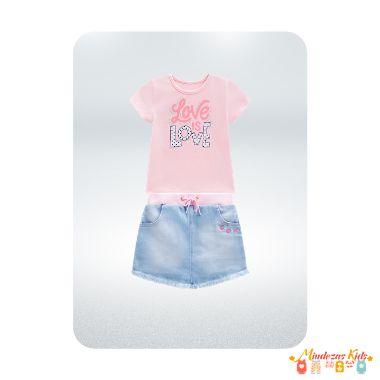 Conjunto blusa em cotton e short saia Jeans Açucena - v