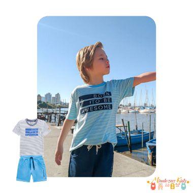 Conjunto camiseta em malha listrada botonê e bermuda em moletom Onda Marinha - v