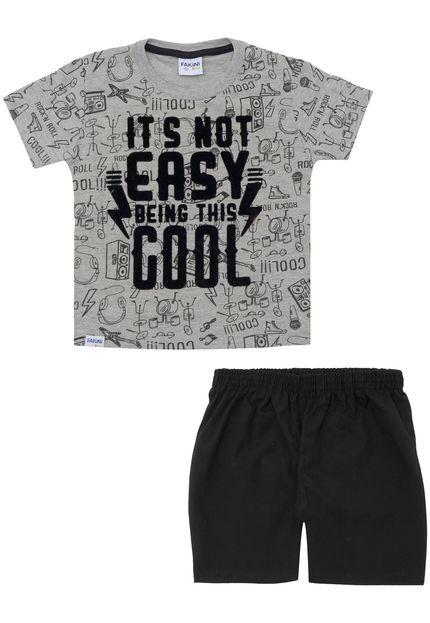 Conjunto camiseta e bermuda Fakini Kids - BLK1