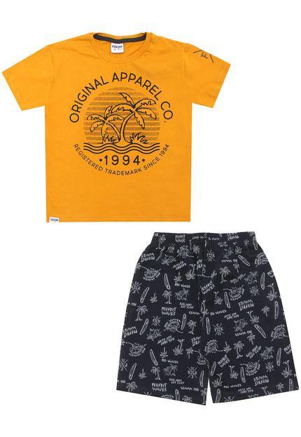 Conjunto camiseta meia malha e bermuda Fakini Kids - BLK1