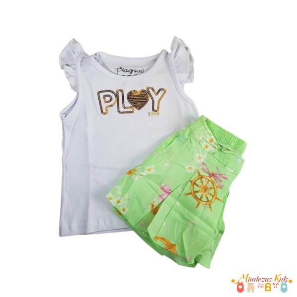 Conjunto Regata e Short Fakini Kids Playground Play Time - BLK1