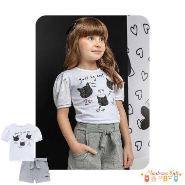 Conjunto de blusa em cotton e shorts em moletinho de viscose Infanti