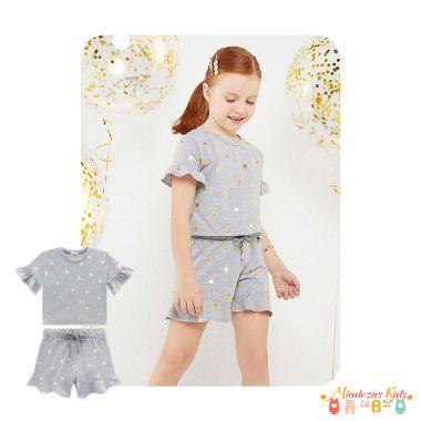 Conjunto de blusa boxy e shorts em malha foil Infanti