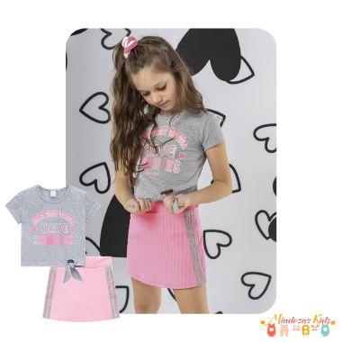 Conjunto de blusa boxy em cotton e shorts-saia em malha canelada Infanti