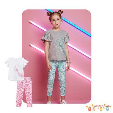Conjunto de blusa em meia malha e legging em malha crepe Infanti