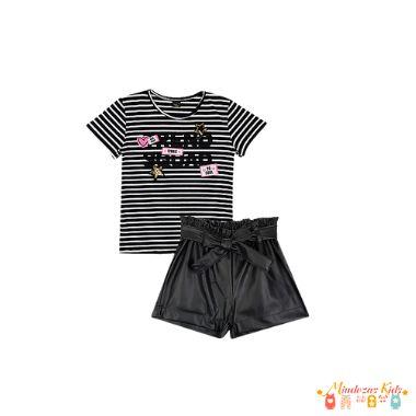 Conjunto blusa em cotton listrado e shorts em couro liso Vic&Vicky