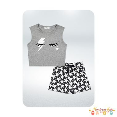 Conjunto blusa cropped em viscolycra e short saia em molecotton Vic&Vicky - v