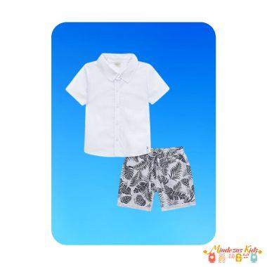 Conjunto camisa em tricoline com elastano e bermuda em sarja leve Luc.boo