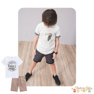 Conjunto de Camiseta meia malha e bermuda cotton jeans moline Luc.boo