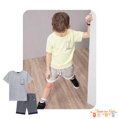 Conjunto camiseta meia malha e bermuda moletinho listrado com elastano Luc.boo - v