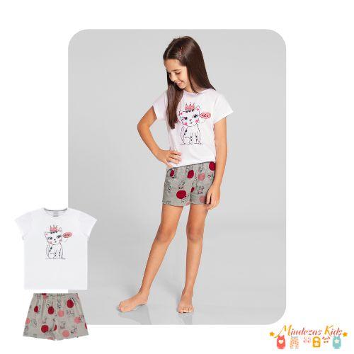 Pijama Blusa E Shorts Gatinho