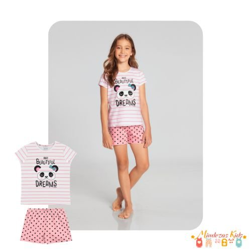 Pijama Blusa E Shorts Listras Poá