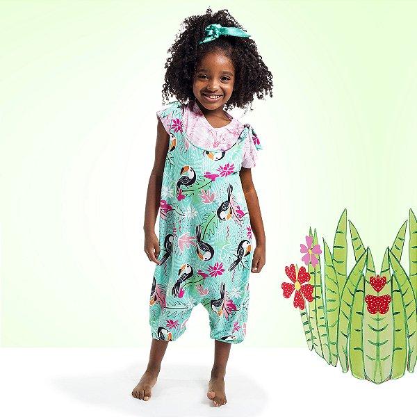 Macacão de Amarrar Infantil Tucano Folhas