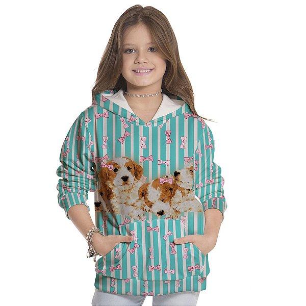 Moletom Infantil Unissex Dog Laço e Listra