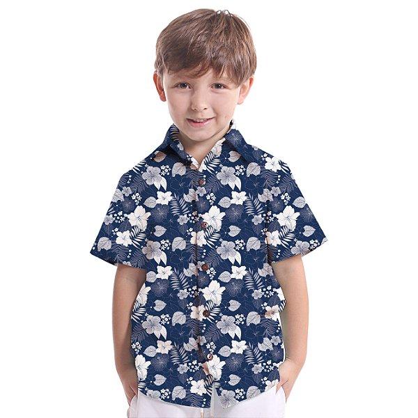 Camisa de Botão Infantil Hibiscos