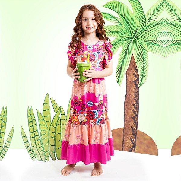 Vestido Longo Bella Infantil Flores
