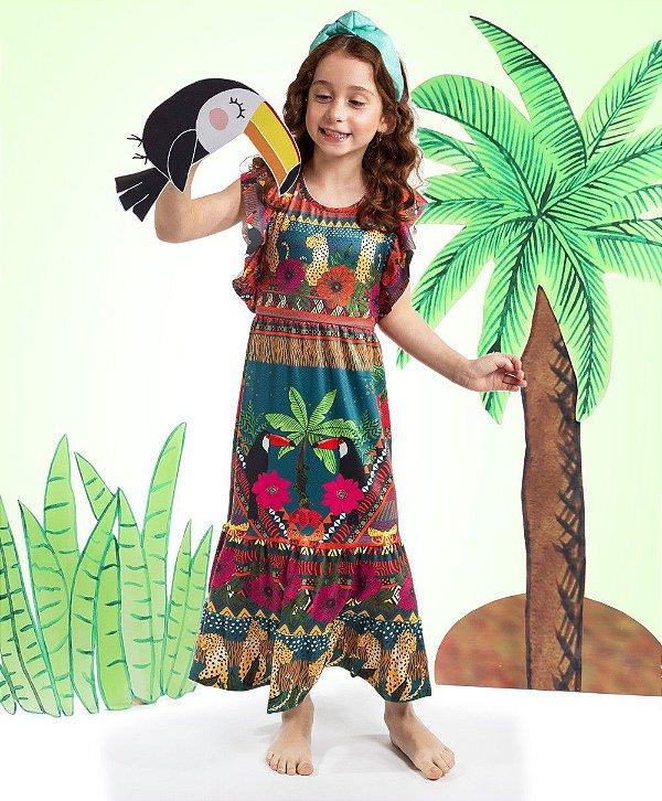 Vestido Longo Bella Infantil Coqueiro