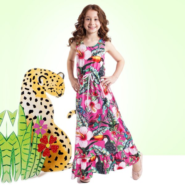 Vestido Longo Nina Infantil Hibisco