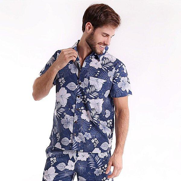 Camisa de Botão Adulto Hibisco